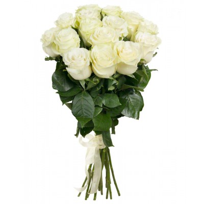 Букет белых роз Мондиаль 15 шт