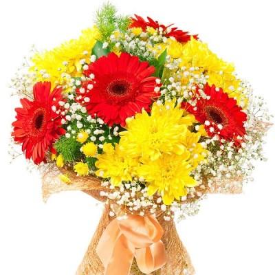"""""""Отпадная"""" букет гербер и хризантем, 9 цветов"""