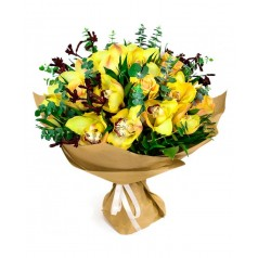 """Букет орхидеи с розами """"Солнышко Моё"""" 11 шт"""