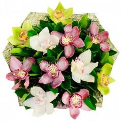 "Букет орхидеи цимбидиум ""Багряный закат"" 11 шт"