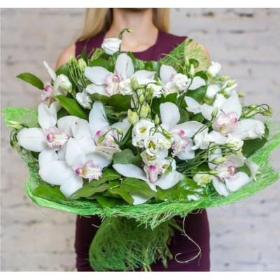 """Букет белые орхидеи цимбидиум """"Безмятежность"""" 15 шт"""