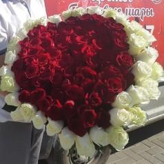 Букет Сердце Розы 101 шт