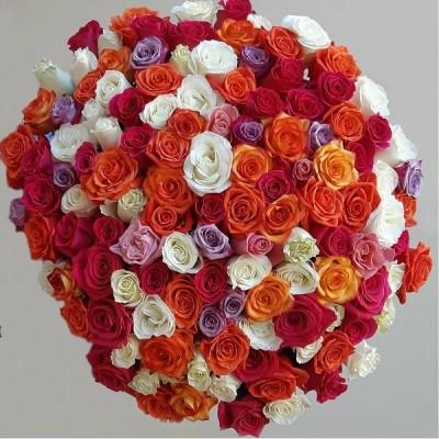 Букет роз Калейдоскоп 101 шт