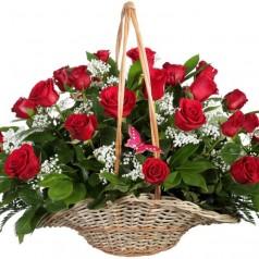 Корзина Вишня (25 роз)