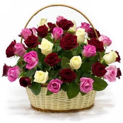 Корзина Искренняя (51 роза)