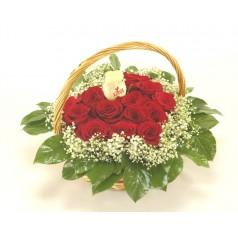 Корзина Честолюбивая (15 роз)