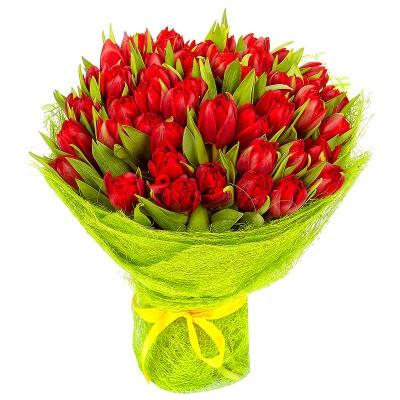 """Букет """"Дурман"""" Тюльпаны красные 45 шт"""