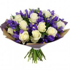 Букет с розами Ирисы