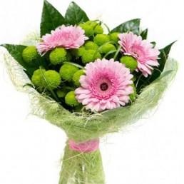 Акция: букет Пуговки - хризантемы, герберы