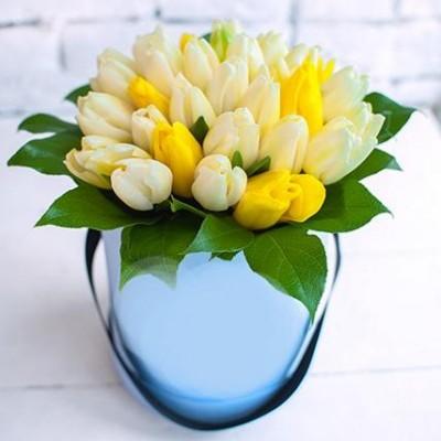 """""""Шляпная Милтония"""" Тюльпаны белые и желтые 35 шт"""