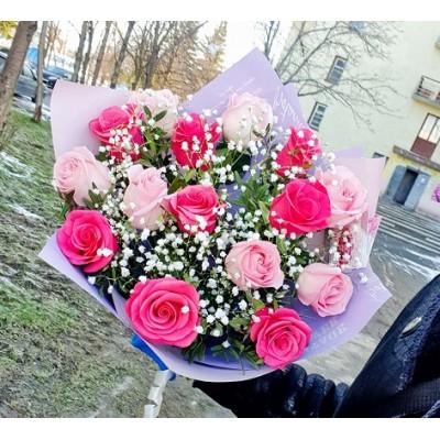 """Букет из 15 роз """"Закат"""""""