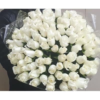 """Букет из 101 розы """"Снежинка"""""""