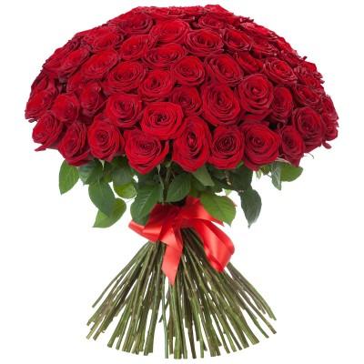 Букет красных роз Радость (75 шт)