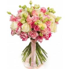 """Букет розы, гвоздики, эвкалипт """"Мира"""" 25 шт"""