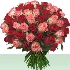 Букет Цветной (55 роз)