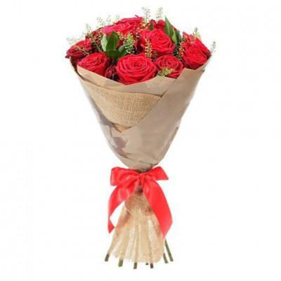 Букет красных роз классический (15 шт)