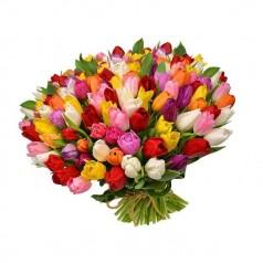 Букет тюльпанов Карнавал 101 шт