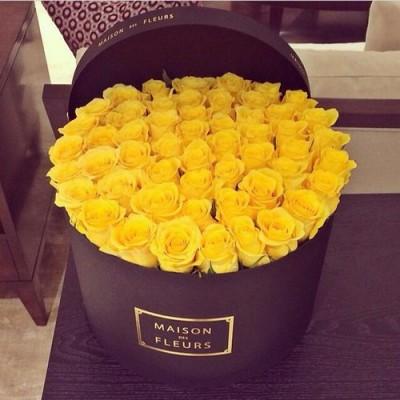"""""""Шляпная жёлтая"""" 51 шт жёлтые розы"""