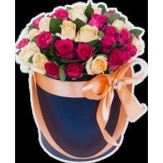 Шляпная Синяя (51 роза)