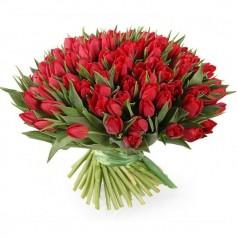 Букет тюльпанов Пылкий 101 шт