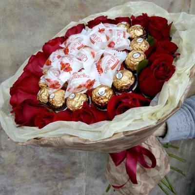 Букет роз и конфет Радость Моя