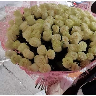 """Букет белых роз """"Чистое поле"""" 101 шт"""