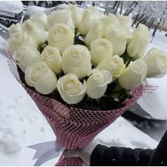 """Букет белых роз """"Снежок"""" 25 шт"""