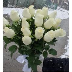 """Белые розы """"Счастье моё"""" 17 шт"""