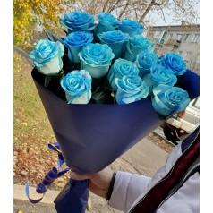 """Букет синих роз """"Синька"""" 15 шт"""