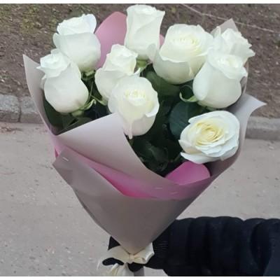 """Букет белых роз """"Благая весть"""" 9 шт"""