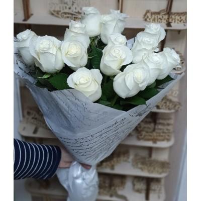Букет белых роз Снежинка 15 штук