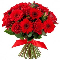 """Букет розы и герберы """"Алый"""""""