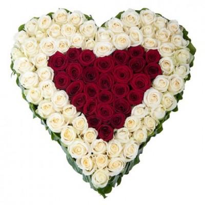 Сердце 101 роза
